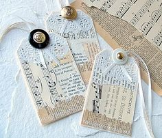 Button Tags Pieced Paper Embellishments must get some doilies! Card Tags, Gift Tags, Handmade Tags, Music Gifts, Paper Tags, Scrapbook Embellishments, Vintage Tags, Artist Trading Cards, Tampons