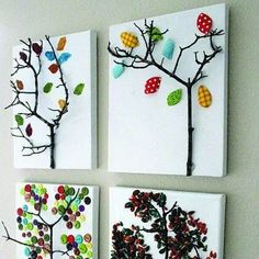 LOVE. Real sticks- glue to canvas- use patterned papers, buttons, etc for leaves!!