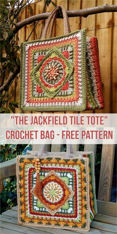 Crochet Bags The Jackfield Tile Tote Bag Free Crochet Pattern - Crochet Handbag Free Patterns Instructions - Crochet Handbag Free Patterns Crochet Bolero, Bag Crochet, Crochet Purse Patterns, Crochet Shell Stitch, Crochet Amigurumi, Crochet Handbags, Crochet Purses, Crochet Crafts, Crochet Projects