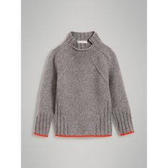 Ditch the slanted cable - but otherwise: interesting lines! Merino Wool Blend Turtleneck Sweater in Mid Grey Knit Fashion, Look Fashion, Ropa Free People, Knitting Designs, Sweater Weather, Pulls, Grey Sweater, Baby Knitting, Pullover Sweaters
