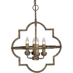 antique gold finish, the Atwood chandelier  • Materials: Iron • Finish: Antique Textured Gold Quatrefoil