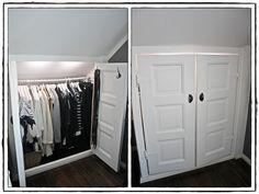Lights in closets/storage areas Attic Master Bedroom, Attic Bedrooms, Master Bedroom Makeover, Attic Bedroom Storage, Loft Storage, Closet Bedroom, Dressing Room Closet, Attic Wardrobe, Walk In Closet