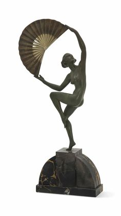 A MARCEL-ANDRE BOURAINE (1886-1948) COLD-PAINTED BRONZE FIGURE -  'FAN DANCER', CIRCA 1925.