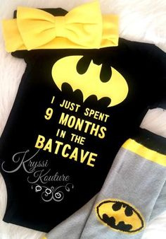 I Just Spent 9 Months in the Batcave Shirt - Baby Batman Suit - Shower Gift - Hospital Outfit - Coming Home Outfit - Super Hero - Batcave