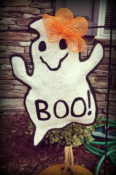 Boo ghost burlap garden flag