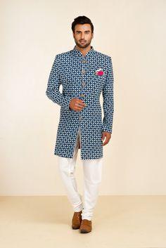 THE STYLE LOFT BY RITU DEORA Blue Printed Sherwani With Metal Buttons. #flyrobe #groom #groomwear #groomsherwani #sherwani #flyrobe #wedding #designersherwani