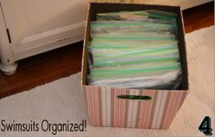 How to organize swimsuits - Vanessa suggests ziplock bags but you might want to try breathable mesh like these: http://www.buy.com/prod/vinyl-mesh-bag-5-x-13/221980770.html?listingId=146590976 #organize #storage