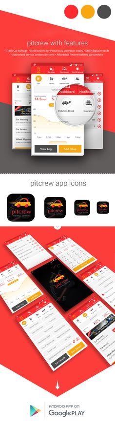 """查看此 @Behance 项目:""""Pitcrew is a car servicing & tracking app""""https://www.behance.net/gallery/30969893/Pitcrew-is-a-car-servicing-tracking-app"""