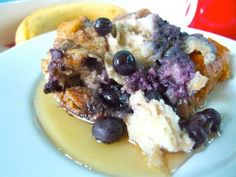 Blueberry Banana breakfast bread pudding