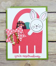 2016  Easter basket punch art card.  Friends & Flowers Clear-Mount Stamp Set – 140511 $19.00 , Greatest Greetings Clear-Mount Stamp Set – 140706  $25.00  Berry Basket Bigz L Die – 137366 $38.00