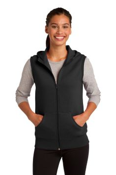 Sport-Tek Women's Hooded Fleece Vest ($28.05) - The fabric is really nice. - Its casual but dressy I can see this dressing up jeans, sweater and some over the knee boots. - This vest gives you the versatility of a hoodie without the bulk. http://www.amazon.com/exec/obidos/ASIN/B00E7XIX14/hpb2-20/ASIN/B00E7XIX14