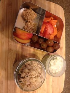 Snacks & Lunch: amaranth & honey squares, carrots/tomato slices, grapes, peaches, plain yogurt w/ ses.seeds and vanilla protein powder, rice & chicken w/ apple sauce, & kale.