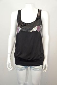 PERSONAL IDENTITY WOMEN'S DESIGNER BLACK SEQUINS TOP SIZE M ON SALE #PERSONALIDENTITY #CASUAL #ANYOCCASION