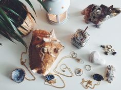 PinkMoss jewelry. Dipped in gold necklaces, crystal rings, geodes. Zen sunday