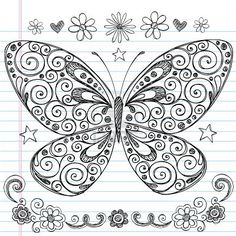 Vector image with - Hand-Drawn Butterfly Sketchy Notebook Doodle Design Elements with Swirls and Flowers. #Butterfly #Sketchy #vector