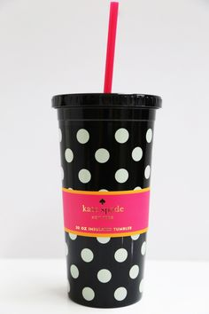 Black Polkadot Insulated Tumbler: Kate Spade - The Rage - 1