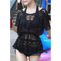 Chic Halter Lace Design Hollow Out Three-Piece Swimsuit For Women #jewelry, #women, #men, #hats, #watches, #belts, #fashion