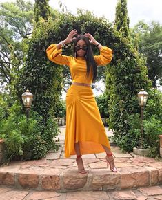 Bonang Matheba sizzles in yellow blouse and matching skirt for Courvoisier garden party-Mammypi FashionTV Cute Dresses, Casual Dresses, Dress Outfits, Fashion Outfits, Fashion Fashion, Fashion Ideas, Vintage Fashion, Celebrity Style Dresses, Prom Looks