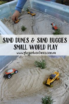 Combine sand and shaving cream to make sand foam then create this amazing sand dune small world. Lots of fun for little hands! Tactile Activities, Creative Activities For Kids, Sensory Bins, Sensory Play, Sensory Table, Transportation Theme, Ground Transportation, Forest School Activities, Sand Play