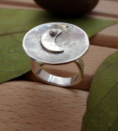 Crescent moon sterling silver ring handmade silver by SelinofosArt