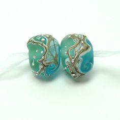 Lampwork beads   -  Beachy Beads  -  blue lampwork pair, aqua, ocean, loose glass beads, by feyglass on Etsy