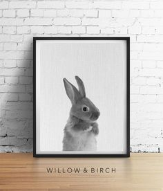 Printable Art RABBIT Print Woodland Bunny by WillowandBirchPrints