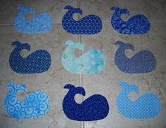 Set of 9 Easy to Use Blue Whale Fabric by MarsyesQuiltShop on Etsy, $10.95   Will ship worldwide.