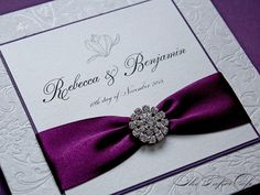 Wedding invitation with grape ribbon & crystal button accent - The Paper Cafe