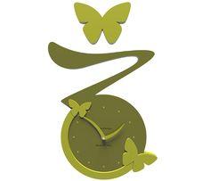Wanduhr Butterfly - grün - Callea