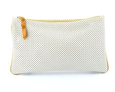 Perforated Clutch   Off White