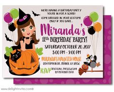 Kid Friendly Halloween Birthday Invitations Non Scary Witch Printed Party
