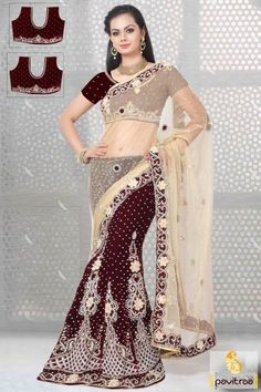New fashion trends in maroon and cream color velvet net half saree lehenga online shopping colection with discount offer price. This heavy designer trendy lehenga gives you a perfect bridal look. #saree, #lehengacholi more: http://www.pavitraa.in/store/lehengha-choli/