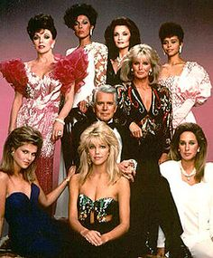 Dynasty (TV series) ~ John Forsythe; Linda Evans; Joan Collins; John James; Pamela Bellwood; Gordon Thomson; Pamela Sue Martin; Jack Coleman; Michael Nader; Lee Bergere; Catherine Oxenberg; Kathleen Beller; Emma Samms; Geoffrey Scott; Heather Locklear; Diahann Carroll; James Farentino and Lloyd Bochner  ~  January 1981 - May 1989