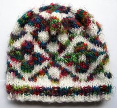 Rainbow Floral Hand Knit Fair Isle Beanie Hat Adult df0c3c029d9c