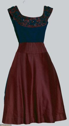 """JEAN DESSES COCKTAIL DRESS, 1955 Black faille boned top, cranberry wool flannel circular bodice yoke & skirt, black embroidered & black beaded yoke, black silk lining, labeled & inked tape """"E19939"""". Front"""