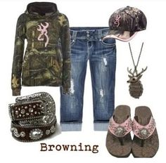 A fashion look from May 2012 featuring zip pants, deer jewelry and pink camo hat. Browse and shop related looks. Country Girls Outfits, Country Girl Style, Country Fashion, Country Life, Country Chic, Southern Style, Country Wear, Country Attire, Country Quotes