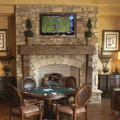 Stone Fireplace With TV Above