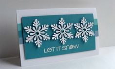 Just a quick post. an easy card with layered snowflakes. Made with Martha Stewart Scandinavian snowflake punch(edited** So Sorry. Cricut Christmas Cards, Simple Christmas Cards, Homemade Christmas Cards, Xmas Cards, Homemade Cards, Handmade Christmas, Holiday Cards, Christmas Crafts, Teal Christmas