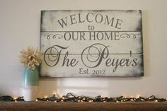 Welcome To Our Home Wood Sign Pallet Sign Wood by RusticlyInspired
