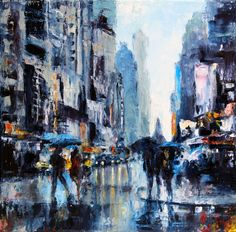 """Lluvia urbana"" oleo a espátula sobre lienzo www.grechgaleria.com"
