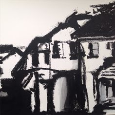 Oil bar sketch of a cluster of houses.