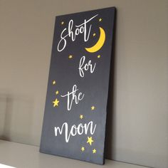 Rustic wood sign - Shoot for the moon!  Beautiful decor for your new baby's room, but would also look lovely in your older child's room, or even your living room! This inspirational sign was made with only the finest quality materials and is sure to last a lifetime. Please visit our website for more custom options: www.woodfinds.com  Rustic, decor, handmade, wood, inspirational, sign, rustic sign, baby, nursery, baby's room, child's room, living room, gift, gift ideas, affordable