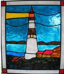 lighthouse ocean nautical stained glass window by windows2thesoul,