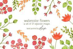grafiker.de - 21 kostenlose Watercolor Flowers als PNG