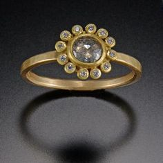 Pale Gray Diamond Ring with Diamond Halo | Ananda Khalsa Jewelry