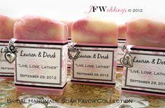 35 Handmade Vegan Soap Favors | Pink Filligree | Pink Grapefruit | Custom Label | Wedding | Bridal | In Clear Bag | Made in 7 days by JoyFilledWeddings on Etsy https://www.etsy.com/listing/79479062/35-handmade-vegan-soap-favors-pink