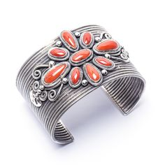 Take a look at our stunning Red Coral Cuff Bracelet by this gifted Navajo artist! $990.00 https://www.oldtownjewels.com/best-selection-of-native-american-jewelry/bracelets/navajo-artist-coral-cuff-bracelet/