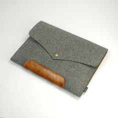 "Made to order Felt Laptop case 11"" Macbook Pro sleeve Leather macbook Case macbook Retina-Grey E1137-MGra02."