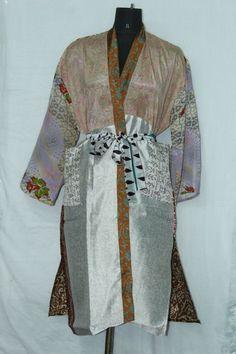 Woman's Vintage Jacket Patchwork Bathrobe Dress Indian Silk Sari Kimono Sk-1050 #Handmade #Kimono #AnyOccasionCasual