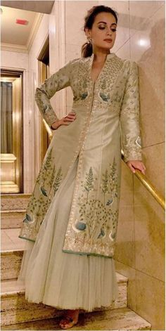Anita Dongre suit worn by Dia Mirza Contact our Stylist for any queries or price details at Designer Bridal Lehenga, Bridal Lehenga Choli, Silk Kurti Designs, Heavy Dresses, Kurti Styles, Long Skirt Outfits, Indian Gowns Dresses, Indian Designer Suits, Dia Mirza